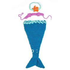 Azul precioso sirena recién nacido del niño del bebé de terciopelo de algodón de punto Beanie sombreros gorras Handmade crochet fotografía complementos disfraz(China (Mainland))