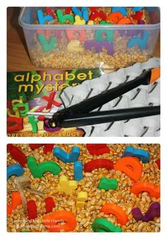 Corn & Alphabet Sensory Play at B-Inspired Mama. Build fine motor skills by using tongs or scoopers, and learn letters to build early literacy skills.