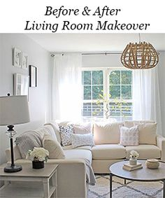 How to Fake A Chandelier & A Giveaway - The Honeycomb Home Tall Kitchen Cabinets, Kitchen Countertops, U Shaped Sectional, Muebles Living, Living Comedor, Living Room Remodel, Kitchen Remodel, Living Room Sets, Decoration