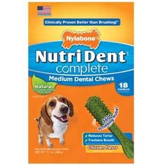Nylabone Nutri Dent Complete Dental Chew for Dogs 171 oz Medium Chicken Pack of 18 chews For Dogs up to 30 lbs * To view further for this item, visit the image link.