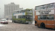 The big snow 1982 Dublin Street, Dublin City, Dublin Ireland, Ireland Travel, Old Pictures, Old Photos, Old Irish, Images Of Ireland, Buses And Trains