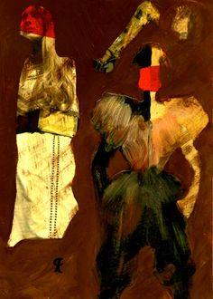 """13-Toulouse Lautrec x Cris Acqua.  Pintura Mixta Collage. 30x21 cm.  HOMENAJE :""""Mi amor por este genial pintor...dueño de los trazos más libres y geniales de la Belle epoque, me han influido totalmente en mi camino por el arte..."""" (Cris Acqua)  http://www.crisacqua.com"""