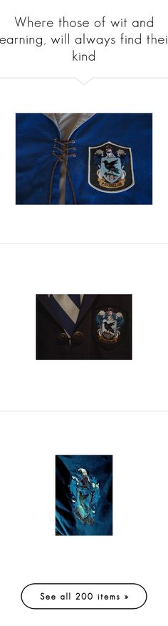 """""""Where those of wit and learning, will always find their kind"""" by evil-laugh ❤ liked on Polyvore featuring harry potter, photos, pictures - blue, pictures, ravenclaw, hogwarts, hp, backgrounds, fillers and tops"""