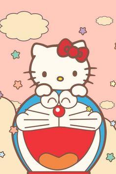 Hello Kitty and doraemon Hello Kitty Art, Hello Kitty My Melody, Hello Kitty Birthday, Sanrio Hello Kitty, Kitty Kitty, Doraemon Wallpapers, Cute Wallpapers, Kawaii, Kaws Iphone Wallpaper