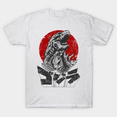 Shop The King Will Rise godzilla t-shirts designed by ddjvigo as well as other godzilla merchandise at TeePublic. Retro Shirts, Japan Fashion, Vintage Japanese, Cool Tees, Godzilla, Shirt Outfit, Retro Fashion, Shirt Style, V Neck T Shirt