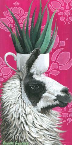 Heather Gauthier Original Acrylic Painting Heather Gauthier Art llama painting