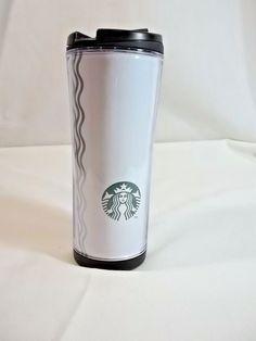 Starbucks Coffee Travel Mug Cup Tumbler Mermaid Silver Squiggle 12 Oz #Starbucks