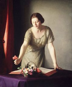 William McGregor Paxton, Girl arranging flowers, 1921 ca., Brooklyn Museum (NY).
