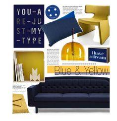 """Blue & Yellow"" by lovethesign-eu ❤ liked on Polyvore featuring interior, interiors, interior design, home, home decor, interior decorating, Normann Copenhagen, Muuto, Seletti and Serax"