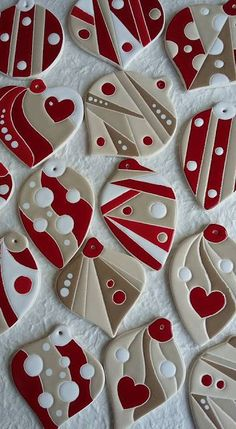 Red and white ceramic ornaments