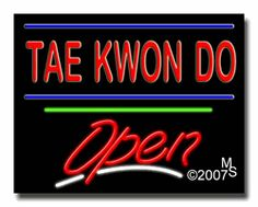 "Tae Kwon Do Open Neon Sign - Script Text - 24""x31""-ANS1500-6358-3g  31"" Wide x 24"" Tall x 3"" Deep  Sign is mounted on an unbreakable black or clear Lexan backing  Top and bottom protective sides  110 volt U.L. listed transformer fits into a standard outlet  Hanging hardware & chain included  6' Power cord with standard transformer  Includes 2nd transformer for independent OPEN section control  For indoor use only  1 Year Warranty on electrical components."