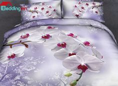 Beautiful floral pattern duvet cover set, do u love it? Buy link>>>http://urlend.com/mEJ3qaV Live a better life, start with Beddinginn http://www.beddinginn.com/product/New-Arrival-Beautiful-White-Flowers-Light-Purple-Print-4-Piece-Duvet-Cover-Sets-10893367.html