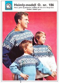 ~Vintage Norwegian Pattern For Adult & Child Size Scandinavian Sweaters To Knit~ Norwegian Knitting, Fair Isle Knitting, Adult Children, Vintage Knitting, Scandinavian, Knitting Patterns, Men's Style, Knits, Photo Ideas