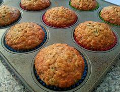 Modified recipe: 24 muffins: 1 ½ cups flour 1 cup flax meal 2 ½ cup old fashioned oats 2 tsp baking soda 2 tsp baking powder 1/3 cup packed brown sugar 2 tsp cinnamon 1 tbls vegetable oil ¼ cup non-fat Greek Yogurt ½ cup water (add more if too dry) 1 large egg ½ cup egg whites 2 tsp vanilla extract 4 cups shredded zucchini