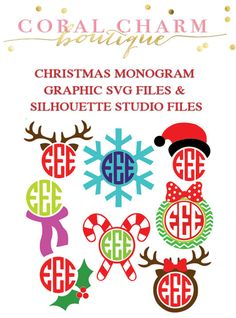 This is for two zipped folders with 8 monogram-compatible graphics in the form of SVG files AND Silhouette Studio files. Once purchased you (Cool Fonts Initials) Silhouette Vinyl, Silhouette Machine, Silhouette Cameo Projects, Silhouette Studio, Silhouette Files, Christmas Vinyl, Christmas Graphics, Christmas Crafts, Christmas Shirts