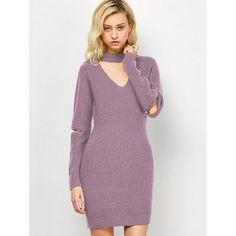 Choker Neck Mini Sweater Dress