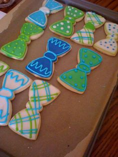 bow tie cookes in plaid, chevron, and polka dots for a little man baby shower