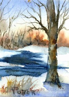 Sunrise On Winter Day Aceo by Virginia Potter