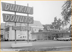 Dunkin Donuts the giant chain of coffee shops gets its start in Quincy, Massachusettes in the 1950s with this first store.