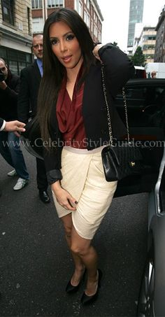 Deep red shirt & off white skirt