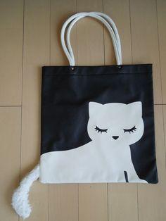 Pooh-chan Cat Tote Bag with Tail - Black & White - Kawaii Harajuku Fashion Item