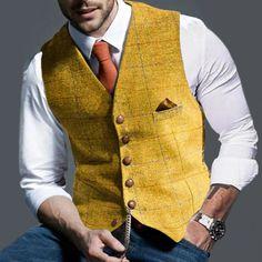 Vest Coats, Men's Fashion Formal Plaid Jacket Plaid Jacket Mens, Mens Suit Vest, Plaid Suit, Mens Suits, Business Casual Men, Men Casual, Casual Wear, Business Fashion, Chaleco Casual