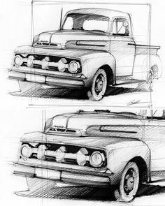 Ford F-1 #sketch #sketchbook #design #form #industrialdesign #ford #fordf1 #eveningsketch #pickup #forddesign #pen #pensketch