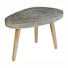 Small Concrete Coffee Table with Wooden Legs - Casafina
