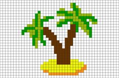 Palm Trees Pixel Art - Etamin ile yapılan etkinlikler - The Arecaceae are a botanical family of perennial climbers, shrubs, acaules and trees commonly know - Tiny Cross Stitch, Xmas Cross Stitch, Cross Stitching, Cross Stitch Embroidery, Cross Stitch Patterns, Pixel Art, Mini Palm Tree, Palm Trees, Graph Paper Art