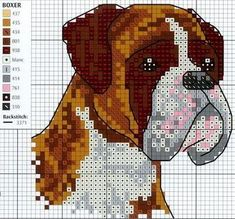 Boxer chart 2 of 6 - with key cross stich вышивка крестом, в Cross Stitch Bird, Cross Stitch Animals, Modern Cross Stitch, Cross Stitch Charts, Cross Stitch Designs, Cross Stitching, Cross Stitch Embroidery, Cross Stitch Patterns, Crochet Pillow Pattern