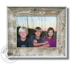 11 x 14 white washed weathered reclaimed cypress wood with plexiglass. Hangs in both directions. Not made from dingy pallet wood. Made in the USA. Visit www.BeachFrames.com