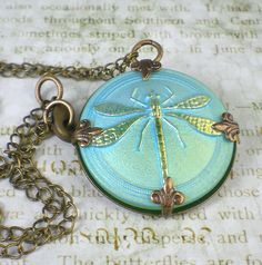 Dragonfly Necklace Shimmery Green Czech Glass by milminedesign, $24.00