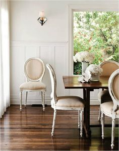 wood + white dining room