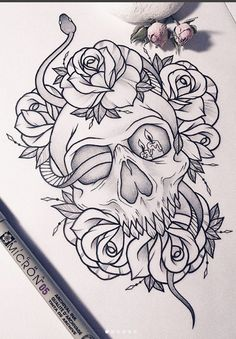 New Tattoo Snake Skull Art Ideas – Tattoo Sketches & Tattoo Drawings Skull Tattoo Design, Skull Tattoos, Body Art Tattoos, New Tattoos, Sleeve Tattoos, Tattoos For Guys, Tattoo Designs, Tatoos, Skull Design