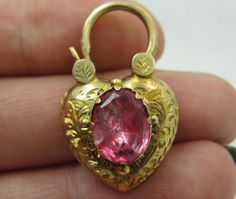 Georgian Pink Topaz crystal Gold chaised padlock puffy heart Locket - BJ Antique Jewellery