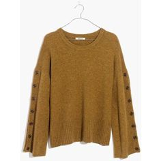MADEWELL Button-Sleeve Pullover Sweater ($75) ❤ liked on Polyvore featuring tops, sweaters, hthr moss, pullover shirt, brown button up shirt, button up sweater, pullover sweater and button sweater