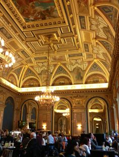 Book Cafe Budapest - a cafe above a bookshop on Andrassy Avenue with magnificent decor.