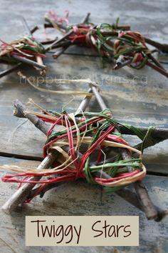 Twig stars with raffia wrapped around