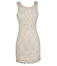 Beige Lace Dress, Beige Crochet Lace Dress, Beige Lace Sheath Dress, Ivory Lace Pencil Dress, Ivory Lace Sheath Dress