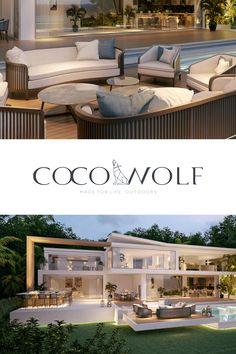 Modern Backyard, Modern Landscaping, Outdoor Lounge, Outdoor Living, Outdoor Decor, Dream Home Design, Modern House Design, Brick Wall Bedroom, Bali House
