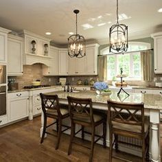 """traditional kitchen by Driggs Designs   light fixtures, gray """"griege"""" walls, flo... - http://centophobe.com/traditional-kitchen-by-driggs-designs-light-fixtures-gray-griege-walls-flo/ -"""