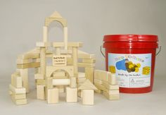 Blocks are perfect toys for a 3 year olds. This block set has 60 natural wooden blocks. No paints or coatings. Mom's love it because the storage bucket makes it easy for the child to clean up by themselves. Available only at http://backtoblocks.com/wooden-block-set-basic-builder-60-blocks.html