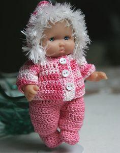 PDF PATTERN Crochet 5 inch Berenguer Baby Doll Hooded Jacket Set