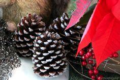 Pinhas com glitter para decorar a casa para o Natal!