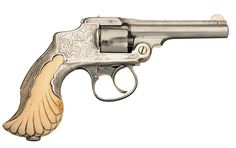 Extremely Rare Documented Tiffany and Co. Marked Smith & Wesson First Model 32 Safety Hammerless DA Revolver with Factory Letter and Embellished Sterling Silver Tiffany Ivory Encased Grip Year 1888 Smith Wesson, Fire Powers, Custom Guns, Tiffany And Co, Guns And Ammo, Firearms, Hand Guns, Weapons, Arsenal