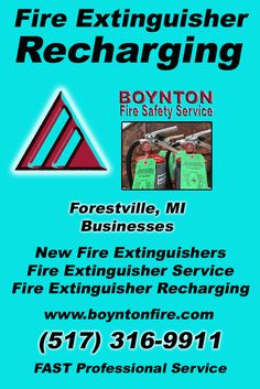 Fire Extinguisher Recharging Forestville,, MI (517) 316-9911  We're Boynton Fire Safety Service.. The Main Source for Fire Protection for Michigan Businesses. Call Today!  We would love to hear from you.