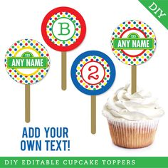 Sesame Street Cupcakes, Sesame Street Party, Personalized Labels, Letters And Numbers, Cupcake Toppers, Color Patterns, Birthday Candles, Colorful Backgrounds, Initials