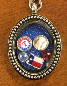 Texas Rangers Themed Floating Charm Locket