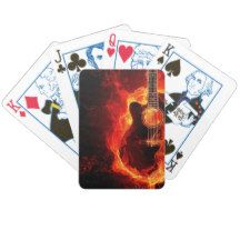 #Burning #Guitar, Orange Flames #Music Rock Band Bicycle Playing #Cards