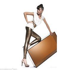 Legging femme sexy doré motif léopard  BAS BLEU TAILLE S/M/L NEUF